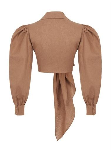 Nocturne Balon Kol Crop Bluz Camel
